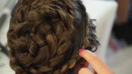 pretty : Hairdresser make braids in beauty salon.