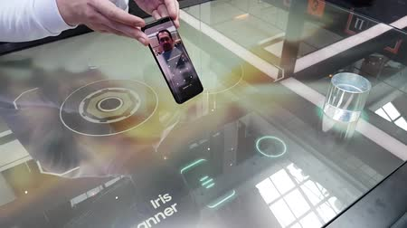 interactive table : Moscow, Russia - June 11, 2017: Presentation of a new Galaxy S8 smartphone in the Samsung brand store at interactive table