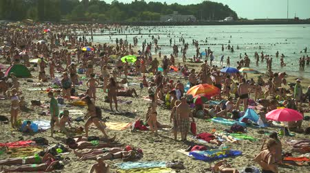 morze bałtyckie : Pionerskij ,Russia - July 30, 2017: People relax and sunbathing at Baltic Sea shore at sunny summer day Wideo