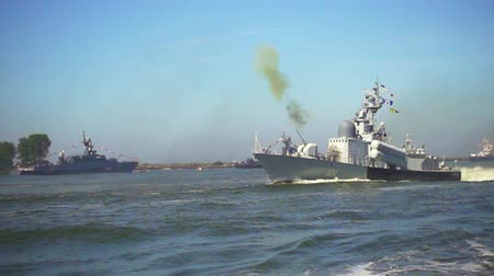 střela : Baltijsk, Russia - July 30, 2017: Military naval ship firing during a parade to the day of the Russian Navy. Slow motion