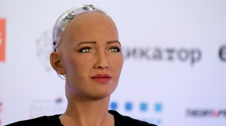 sofia : Moscow, Russia - October 1, 2017: Sophia humanoid robot speaking Russian at Open Innovations Conference at Skolokovo technopark