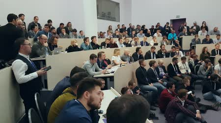 kongres : Moscow, Russia - December 8, 2017: People attend Crypto Space event at Skolkovo Campus