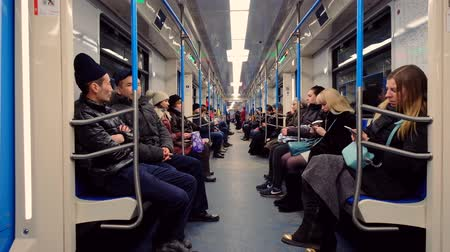 rapid transit : Moscow, Russia - February 11, 2018: People are riding in the subway