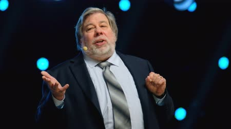 co founder : Moscow - Russia, April 23, 2018: Stephen Wozniak performs at business conference