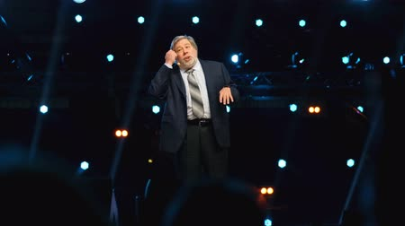 fame : Moscow - Russia, April 23, 2018: Stephen Wozniak performs at business conference