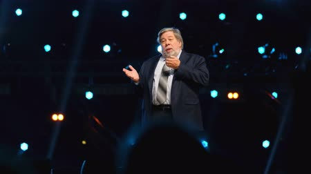 apple icon : Moscow - Russia, April 23, 2018: Stephen Wozniak performs at business conference