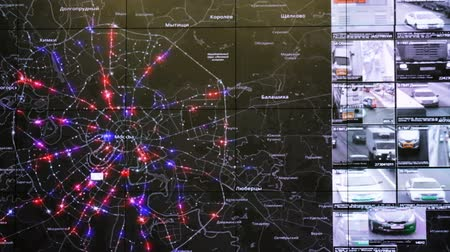 trest : Moscow, Russia - February 9, 2018: Interactive map in the traffic monitoring center shows statistics of traffic accidents and violations of traffic rules