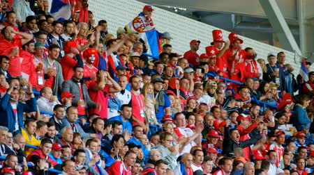 piłka nożna : Kaliningrad - Russia, June 22, 2018: Football fans support teams on the match between Serbia and Switzerland