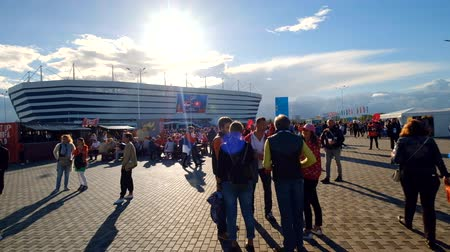 fan fest : Kaliningrad - Russia, May 22, 2018: Football fans attend stadion Kaliningrad before match between Serbia and Switzerland