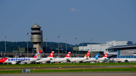 suíço : Zurich, Switzerland - July 19, 2018: Zurich airport panoramic landscape at day time