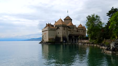 geneva : Montreux, Switzerland - April 24, 2018: Chillon Castle exterior at day time Stock Footage