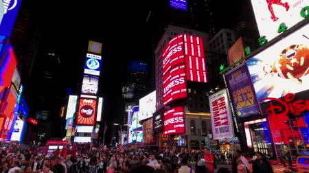 times : New York, USA - September 6, 2018: Time Square night time cityscape Stock Footage