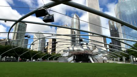 millennium : Chicago, USA - September 16, 2018: Panorama of Jay Pritzker Pavilion at day time Stock Footage