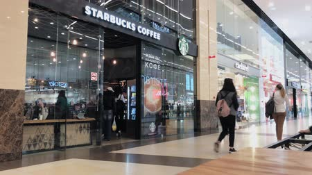 franczyza : Moscow, Russia - September 9, 2018: Starbucks cafe interior in the Columbus mall
