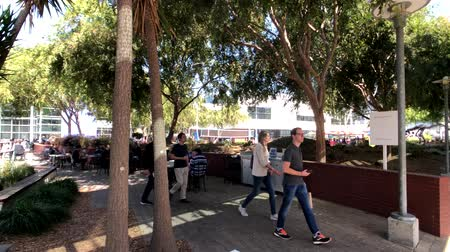 штаб квартира : Mountain View, USA - September 25, 2018: Employees working outdoors at Googleplex headquarters main office Стоковые видеозаписи