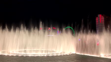 bellagio : Las Vegas, USA - September 10, 2018: Show of music Bellagio fountains, cityscape at night
