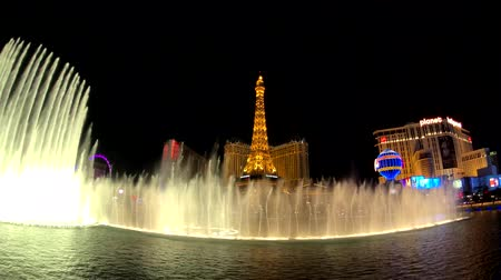 bellagio hotel : Las Vegas, USA - September 10, 2018: Show of music Bellagio fountains, cityscape at night