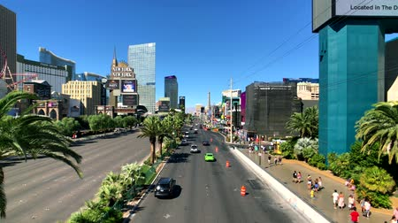 bellagio : Las Vegas, USA - September 10, 2018: Las Vegas boulevard top view at sunny day time Stock Footage