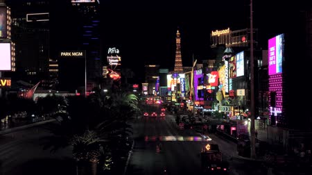 bellagio : Las Vegas, USA - September 10, 2018: Las Vegas boulevard at night Stock Footage