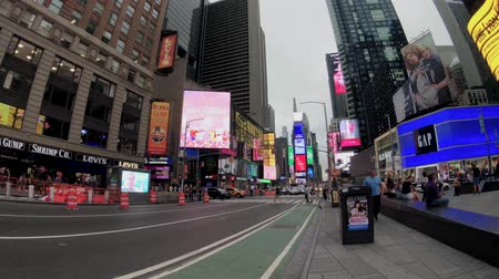 hirdet : New York, USA - September 6, 2018: Time Square cloudy day time cityscape