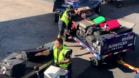 rukojeť : Las Vegas, USA - September 10, 2018: Airport workers unloading luggage from the airplane