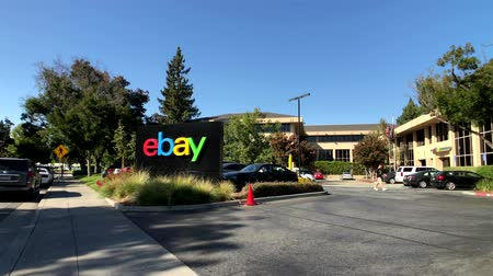 silicon : San Jose, USA - September 10, 2018: Ebay outdoor logo at company headquarters in silicone valley Stock Footage