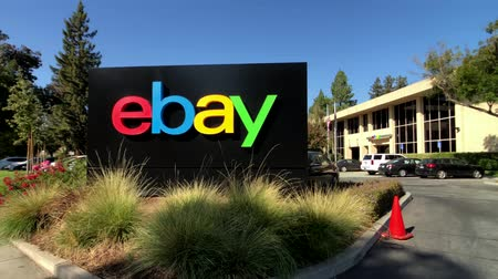 ebay : San Jose, USA - September 10, 2018: Ebay outdoor logo at company headquarters in silicone valley Stock Footage