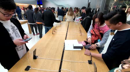 silicon : San Francisco, USA - September 10, 2018: People visiting Apple store at downtown