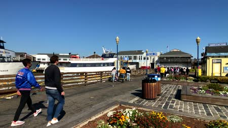 halászok : San Francisco, USA - September 10, 2018: Tourists visit famous landmark Pier 39 at sunny day time Stock mozgókép