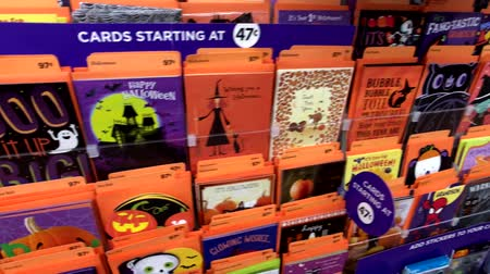 walmart : Chicago, USA - September 10, 2018: Halloween greeting cards on the shelves in the Walmart supermarket