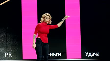színésznő : Moscow, Russia - March 13, 2019: Russian celebrity instagram blogger Anastasia Ivleeva performs at business conference