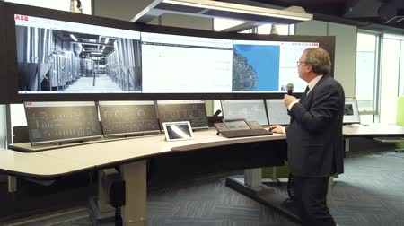 operation : Kaliningrad, Russia - April 10, 2019: Engineering monitoring system with multiple screens demonstration
