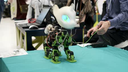 Skolkovo, Russland - 16. April 2019: Demonstration des Einhornroboterprototyps am Robotikforum