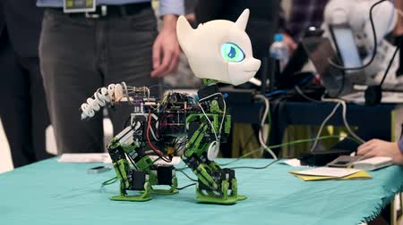 Skolkovo, Russia - April 16, 2019: Demonstration of unicorn robot prototype at robotics forum Wideo