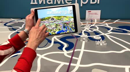 interactive table : Skolkovo, Russia - April 16, 2019: Demonstration of augmented reality layout