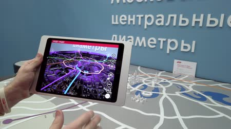 interaktif : Skolkovo, Russia - April 16, 2019: Demonstration of augmented reality layout