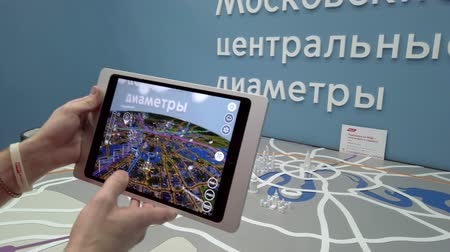 algılayıcı : Skolkovo, Russia - April 16, 2019: Demonstration of augmented reality layout