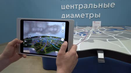 szemléltető : Skolkovo, Russia - April 16, 2019: Demonstration of augmented reality layout