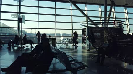 editorial : Moscow - June, 2019: People waiting flights near departure gates in international Vnukovo airport at day time