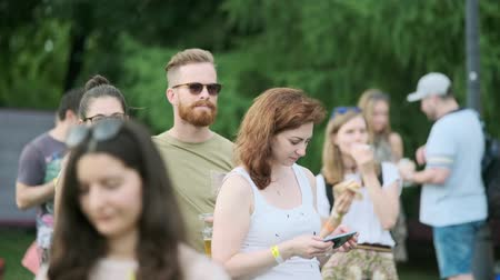 jazz festival : Moscow - June 22, 2019: People attend open-air concert at International Jazz Festival Usadba Jazz in Kolomenskoe Park
