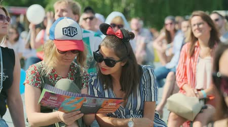 jazz : Moscow - June 22, 2019: People attend open-air concert at International Jazz Festival Usadba Jazz in Kolomenskoe Park