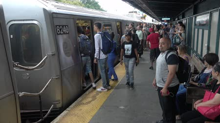 editorial : New York, USA - September 6, 2018: Passengers are boarding the subway train