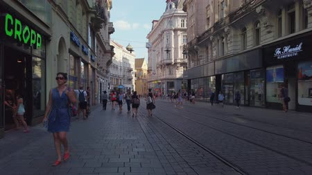 Čechy : Brno, Czech Republic - July 25, 2019 - Transport and people at old city centre at day time