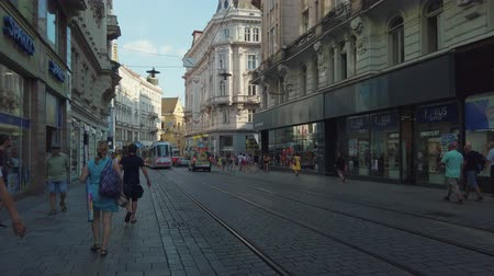 editorial : Brno, Czech Republic - July 25, 2019 - Transport and people at old city centre at day time