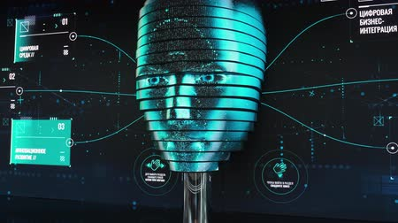 android : Skolkovo, Russia - October 21, 2019: Android robot woman virtualized head speaks to technology innovation forum visitors Stock Footage