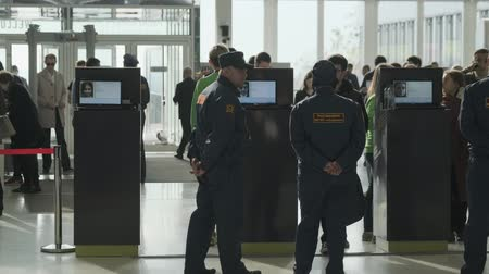 registrace : Skolkovo, Russia - October 21, 2019: Security check of conference participants, visitors scan their badges