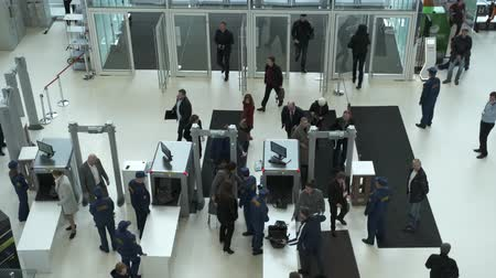 terrorizmus : Skolkovo, Russia - October 21, 2019: Security check of conference participants with x-ray luggage scanning, top view