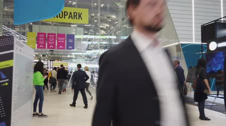 ショー : Skolkovo, Russia - October 21, 2019: Hyperlapse walks around the technology park during the Innovation Forum