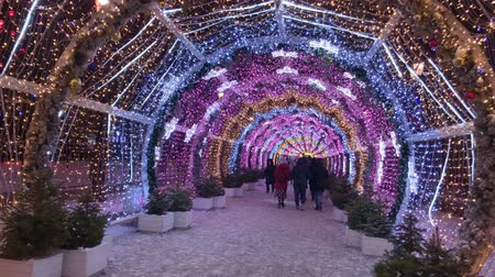 çobanpüskülü : Moscow, Russia - December 24, 2019: People walk the streets decorated with illumination for Christmas at evening