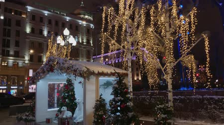 падуб : Moscow, Russia - December 24, 2019: City street decorated with illumination for Christmas at evening